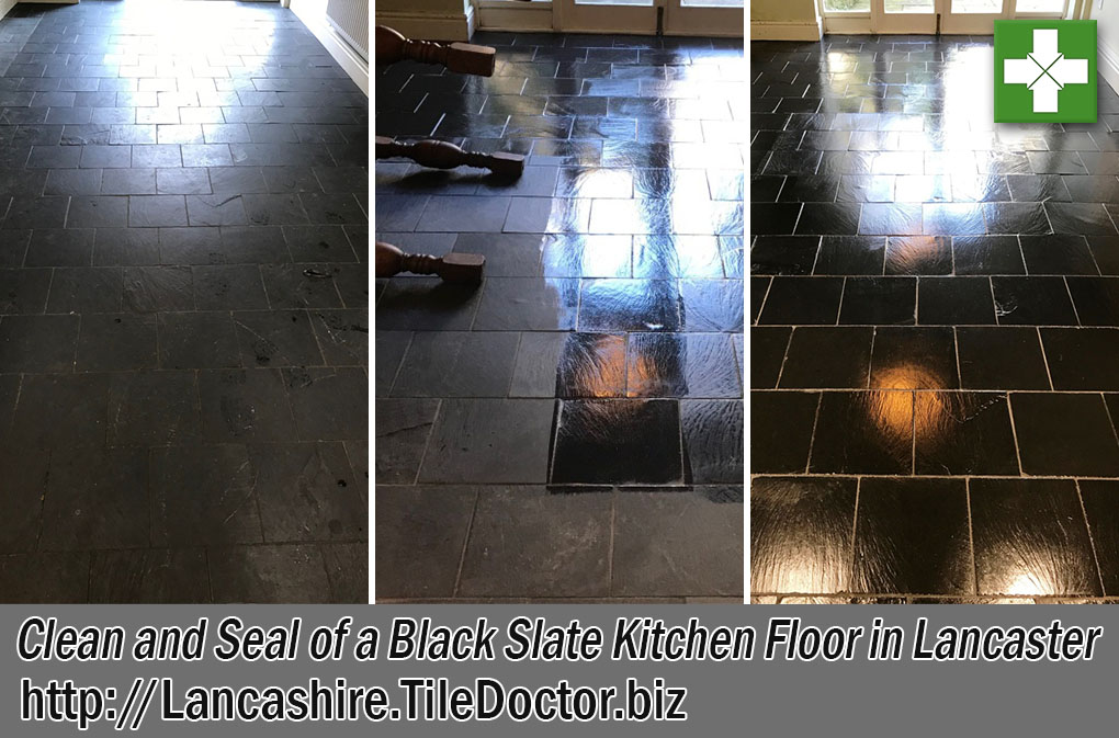 Black Slate Tiled Kitchen Floor Before After Clean Seal Lancaster