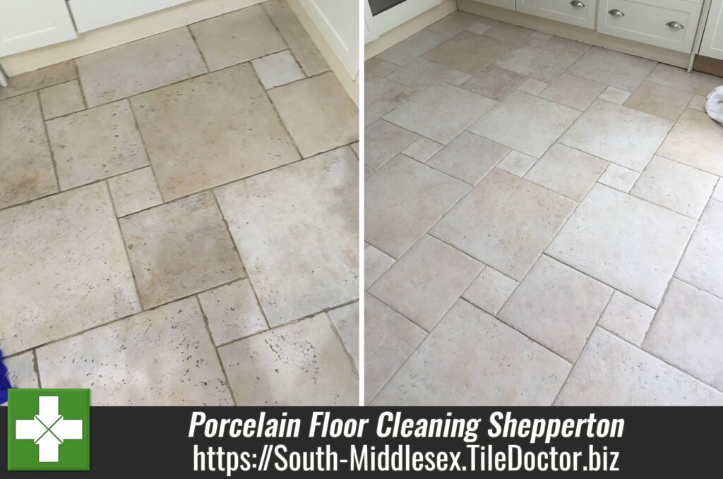 travertine effect porcelain kitchen floor deep cleaned in