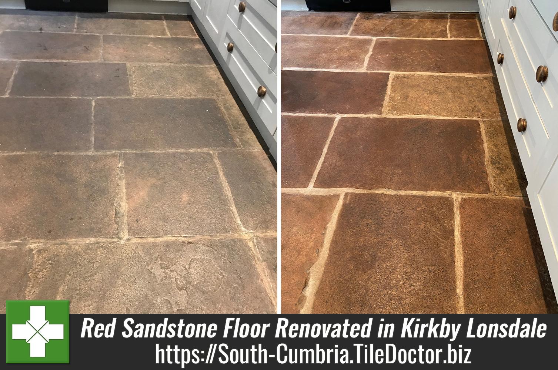 Red-Sandstone-Kitchen-Floor-Flagstones-Before-After-Renovation-Kirkby Lonsdale